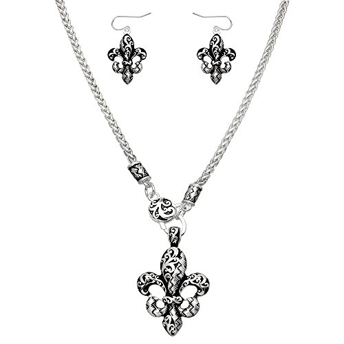 Liavy's Textured Fleur De Lis Fashionable Necklace & Earrings Set - Vine Filigree - Fish Hook - 18