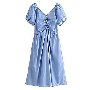 Ladies Summer Slim V-Neck Short Sleeve Lantern Sleeve Dress Florenoo