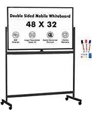 Mobile Whiteboard, 48 x 32 inches Double Sided Dry Erase Board Large Rolling Stand White Board Magnetic Movable Whiteboard Aluminum Frame Classroom Whiteboard on Wheels