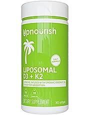 Liposomal Vitamin D3 K2 MK7 - 365 Softgels | VIT D3 5000 IU + K2 100 mcg with Organic Coconut Oil - K2 D3 Vitamin Supplement - Vitamin D and K Support Immune, Bone, Heart, Mood - Non GMO Gluten Free