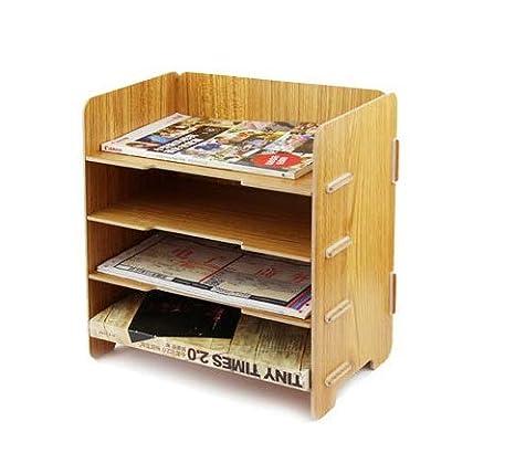 Ablagesystem modern aus Holz Ablageboxen mit 4 Fächer Büro Schreibtisch Arbeitszimmer Dokumentenablage Schreibtischorganizer Dateihalter für A5 Rechnung Dokumenten Bücher Briefe papier Zeitschriften longteng