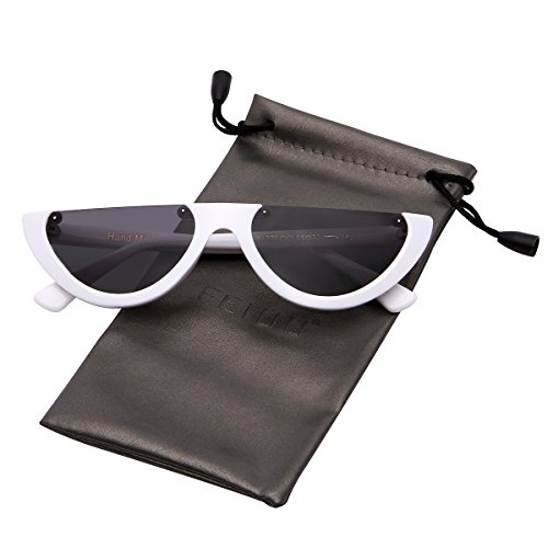 FEIDU Retro Half Round Half Frame Sunglasses for Women Modern Polarized Unisex FD9015 (Black/White, - Round Half Sunglasses
