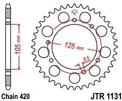 Corona 58 Dientes Acero Est/ándar Paso 420 Tipo 1131 JTR1131.58
