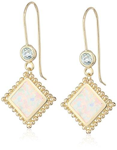 14k Yellow Gold Created Opal and Blue Topaz Dangle Earrings