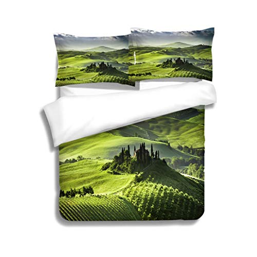 MTSJTliangwan Duvet Cover Set Sunrise Over Farm of Olive Groves and Vineyards in Tuscany 3 Piece Bedding Set with Pillow Shams, Queen/Full, Dark Orange White Teal Coral