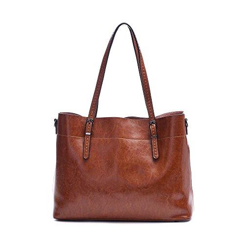 Large Genuine Leather Purse Women Crossbody Tote Handbags, Vintage Shoulder Bag Fit Laptop Up to 14.1''