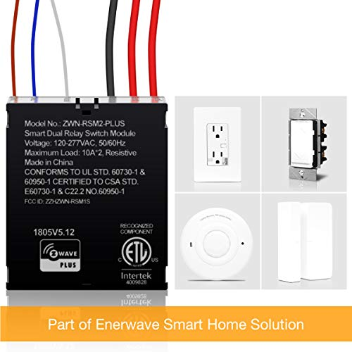 ENERWAVE Z-Wave Plus Dual Relay Switch Module, Z-Wave Relay, Hidden Smart Switch, In-Wall Micro Switch, NEUTRAL WIRE REQUIRED, ZWN-RSM2-PLUS, Black, 2-Pack (New Version) by ENERWAVE (Image #5)