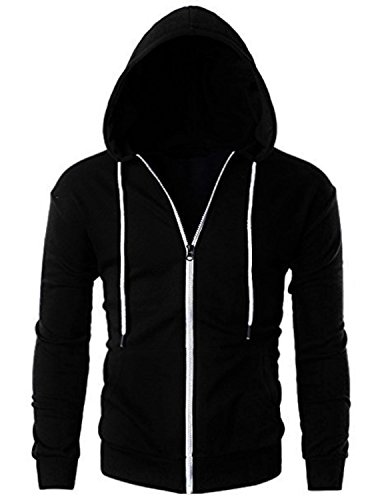 Just Cotton 300 GSM Lightweight 100% Cotton Fashion Zip up Hoodie Fleece Jacket with Inner Phone Pocket(Black,Small) (Stand For Clothes To Dry In India)