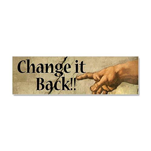CafePress - Change_It_Back_BUMPERSTICKER_vec Car Magnet 10 x 3 - Car Magnet 10 x 3, Magnetic Bumper Sticker (Barack Obama Hope Sticker)
