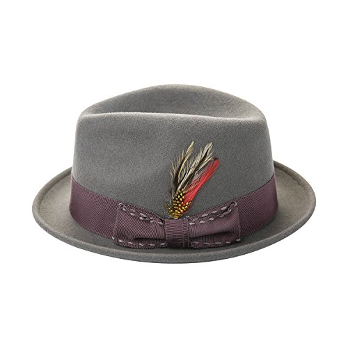 2ac984f44d8112 Janetshats Unisex Classic Fedora Hats Wool Felt Trilby Hat with Bowknot  Feather
