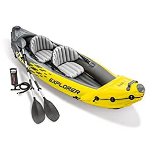 Inflatable Kayak Set (2-Person Intex Pump Paddle Aluminum Oar for Kids & Large Adult) Folding Portable Kyack Canoe Boat 10 Ft up to 400 Lb. Recreational Fishing Saltwater Ocean River Lake. Lightweigh