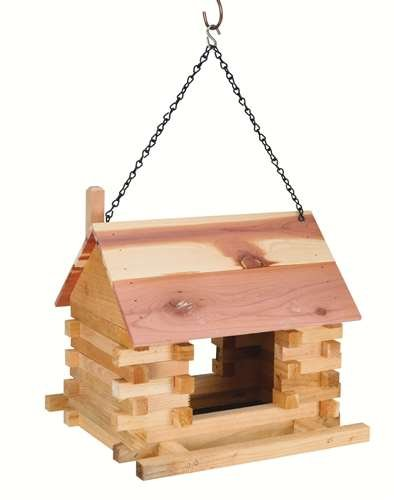 Rustic Log Cabin Bird Feeder