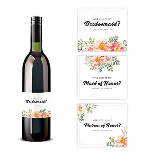 Will You Be My Bridesmaid Stickers | Wine Bottle Label | Proposal Ideas ask Sister, Best Friend (Red Floral)