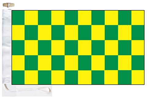 Chequered Green and Yellow Check Boat Flag - 1 Yard  - Rope
