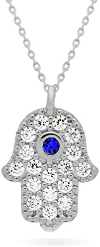 """TZARO-Jewelry Tiny Hamsa Pendant Necklace Hamsa Necklace, Good Luck Necklace, Hamsa Dainty Necklace Protection Necklace 16inch + 2"""" Extension W w Clasp, Simple Gold Necklace"""