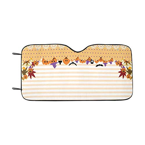 INTERESTPRINT Halloween Pattern, Pumpkins Faces Auto Sun Shade Universal Size Fit 55