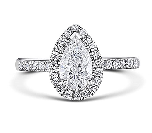 - RussianHeartsDiamonds.com Venetia TOP Grade 2 Carat Radiant PEAR Cut SONA NSCD Simulated Diamond Ring Halo Design Solid 925 Silver pear5