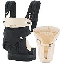 Ergobaby Bundle - 2 Items: All Carry Position Award Winning 360 Baby Carrier and Easy Snug Infant Insert, Black and Camel
