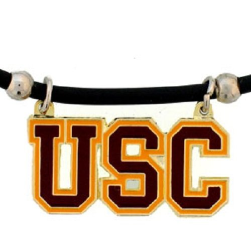 Southern California Trojans USC Large Pendant Black Rubber Cord Necklace Officially Licensed Collegiate NCAA Merchandise Team Logo