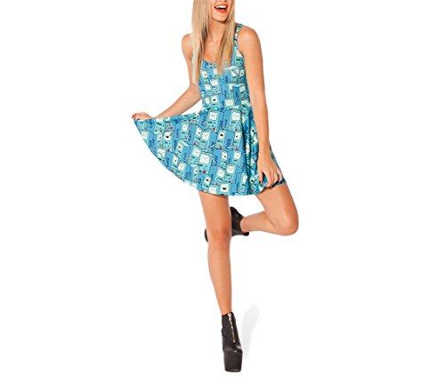 SOTW Fashion Summer Pleated Knee-length Reversible Spandex Skater Sun Dress for Women, BMO