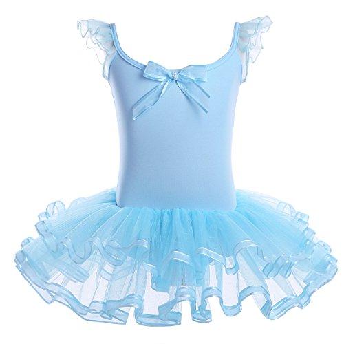 YiZYiF Little Girls' Ruffled Mesh Ballet Dancing Leotard Tutu Skirt Tiered Dress Dancewear Sky Blue 3-4