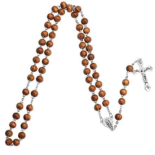 Necklace Opeof Women Christian Catholic Rosary Bead Jesus Cross Pendant Strand Necklace Jewelry - Wood Beads