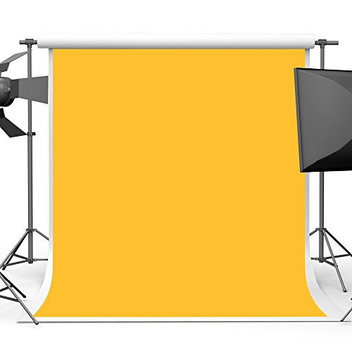 Solid Yellow Photography Backdrop for Portrait Photographic 5x7 Pure light Orange Vinyl Photo Studio (Yellow Solid Vinyl)