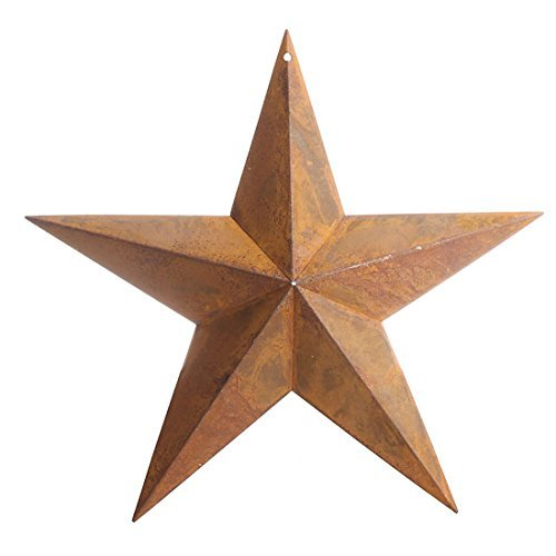 (Primitive Rusty Tin Barn Star with Hole At Top for Attaching Wire or for Hanging)