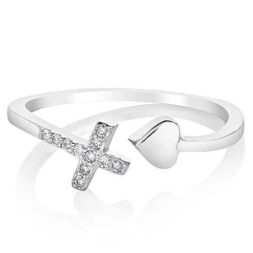 925 Sterling Silver Cubic Zirconia CZ Love of Jesus Cross Heart Band Ring Jewelry Size 8 by Chuvora