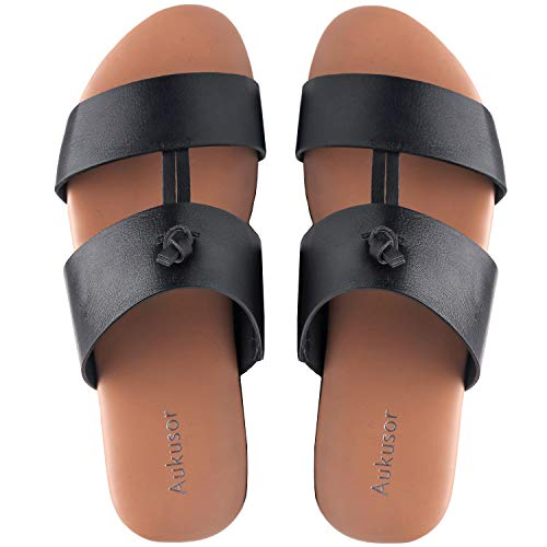 Double Strap Flats - Aukusor Wide Width Flat Sandals for Women with Two Straps and Memory Foam Insole (Black 180111, 7WW)