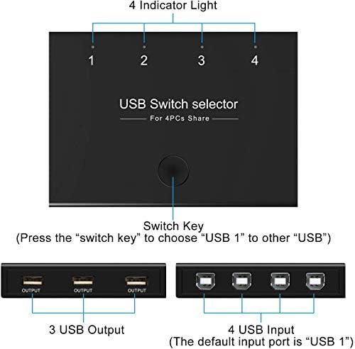 DIGITNOW Selector de conmutadores USB, 4 puertos USB periféricos para 4 ordenadores, compartiendo 3 dispositivos USB, teclado, ratón, escáner, impresora, con 4 cables USB 5