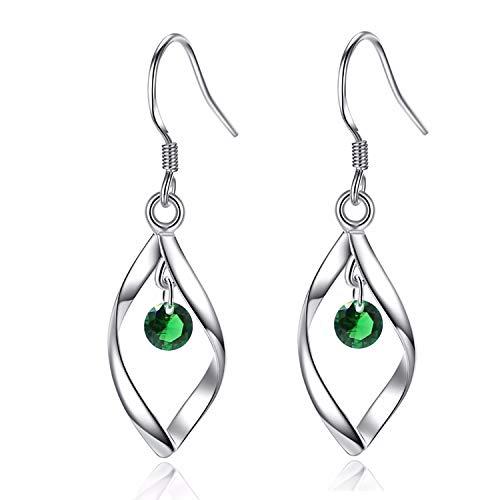 - UEUC Classic Doule/Single Linear Loops 14K Sterling Silver Twist Wave Earrings for Women Girls