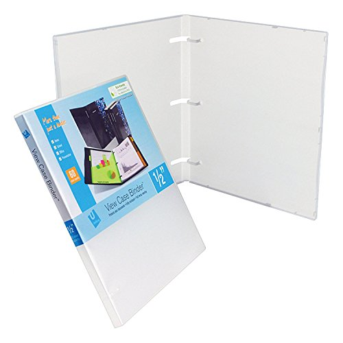 White Clear Overlay (UniKeep 3 Ring Binder - White - Case View Binder - 0.50 Inch Spine - With Clear Outer Overlay 3 Pack)