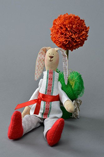 Handmade Linen and Cotton Fabric Soft Toy Rabbit in Ethnic Costume and red Shoes
