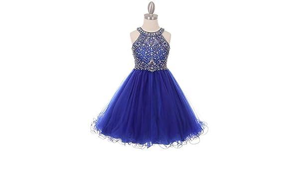 Flower Girls Dazzling Rhinestone Royal Blue Dress Jewels Pageant Wedding Party