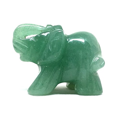 Nelson Creations Green Aventurine Elephant Gemstone Animal Carving Charm Totem Figurine | 1.5