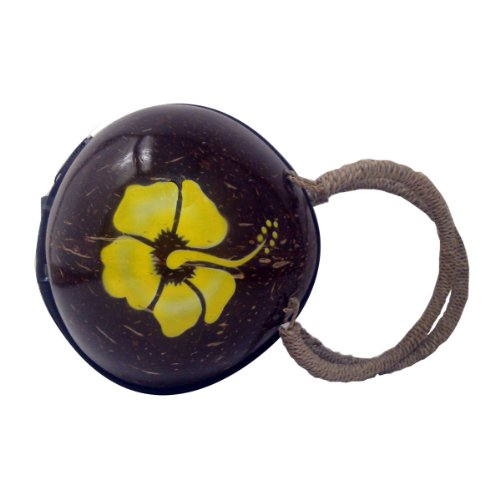 Round Coconut Purse with Painted Hibiscus Hibiscus Purse