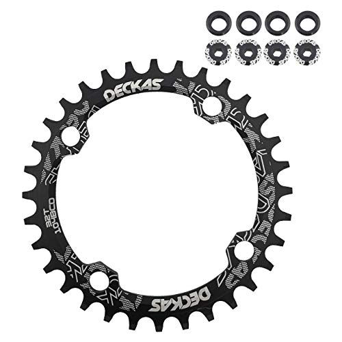 - DECKAS 104BCD 32T 34T 36T 38T Narrow Wide Chainring, Single Chainring for 9/10/11-Speed with 4 Alloy Chainring Bolts (Round) (Black, 32T)