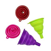 Pack of 4 Mini Food Grade Kitchen Silicone Funnel Set Collapsible Folding Funnel Hopper for Cooking Essential Oils and Wine Random Color