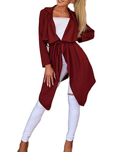 Mac Trench - Maca.lina Women's Long Sleeve Cardigan Windbreaker Outwear Jacket Coat with Belt (L, Red)