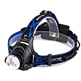 Zoomable T6 Headlamp Super Bright LED Rechargeable Head Lamp, Detachable Head Torch,