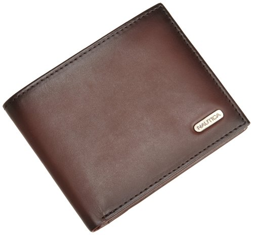Nautica Mens Genuine Leather - Nautica Men's Crunch Passcase Wallet with Removable Card Holder