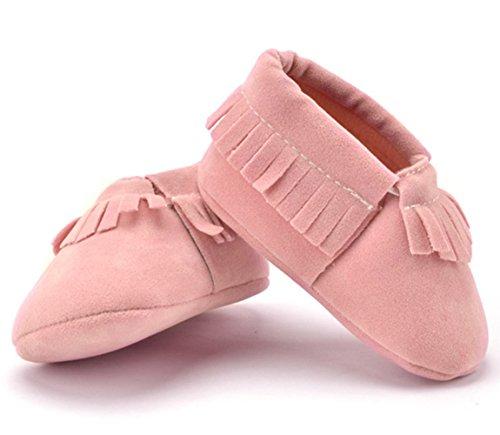 R&V Unisex Infant Baby Boys' Girls' Moccasins Soft Sole Tassels Prewalker Anti-Slip Toddler Shoes (S:0~6 Months, Pink)