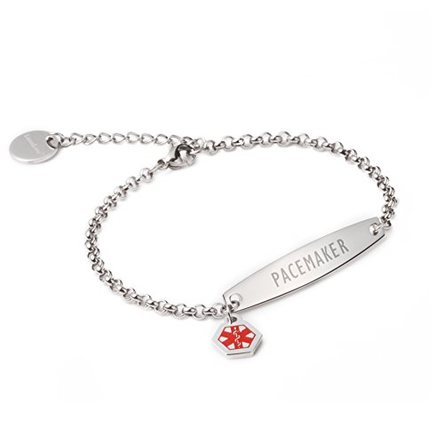 linnalove-Pre-Engraved Simple Rolo Chain Medical id Bracelet for Women & Girl-PACEMAKER by linnalove