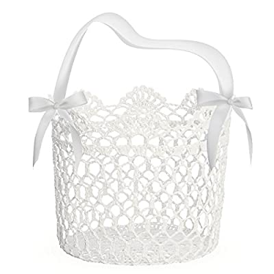 UNOMOR Flower Girl Basket for Wedding Decoration, Handle with Silk Ribbon,5x5x5Inch(White)