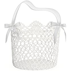 UNOMOR Flower Girl Basket for Wedding Decoration, Handle with Silk Ribbon,5x5x5Inch(White)