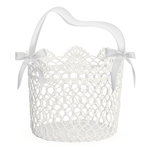 UNOMOR Flower Girl Basket for Wedding Decoration, Handle with Silk Ribbon,5x5x5Inch(White) ()