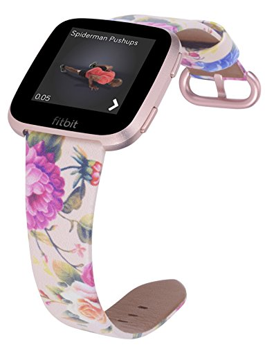PEAK ZHANG Bands Compatible with Fitbit Versa, Premium Genuine Leather Replacement Wristband Smart Watch Strap Women with Rose Gold Metal Clasp(Small Size,Pink/Blue Flowers)