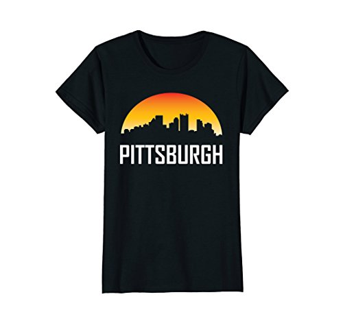 Womens Pittsburgh Pennsylvania Sunset Skyline Silhouette T-Shirt Medium - Sunset Woman Silhouette