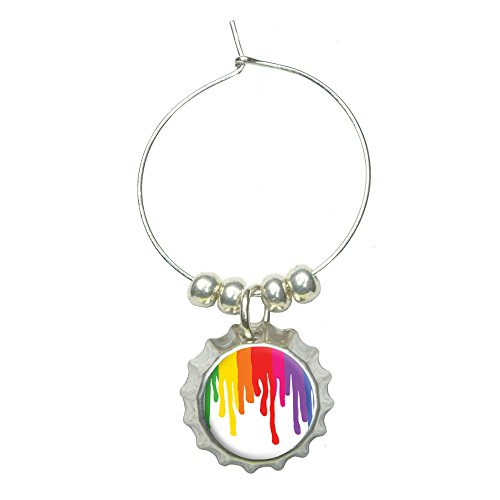 Rainbow Paint Drip - Pride Ink Colors Wine Glass Bottlecap Charm Drink Marker (Cabernet Sauvignon Ink)
